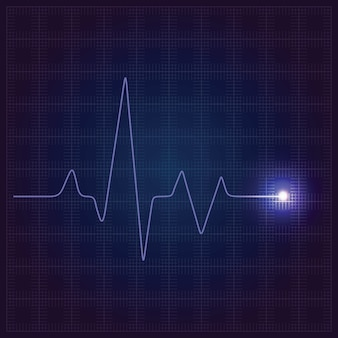 Fondo medico blu di sanità con il cardiogramma al neon del cuore.