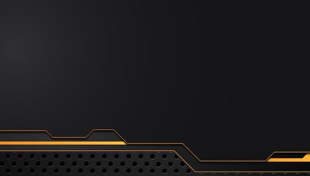 Fondo metallico astratto giallo arancione e nero di concetto dell'innovazione di tecnologia della disposizione della struttura