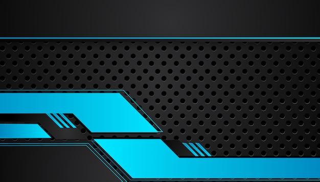 Fondo metallico blu e nero astratto di concetto dell'innovazione di tecnologia di progettazione della disposizione della struttura