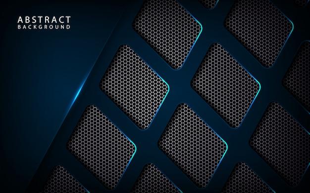 Fondo metallico blu scuro astratto di tecnologia