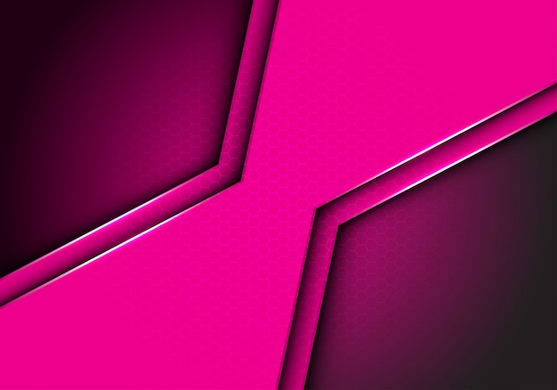 Fondo metallico della maglia di esagono del poligono rosa.