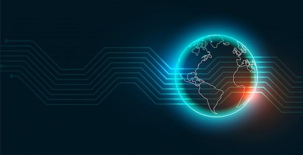 Fondo moderno della terra di tecnologia digitale