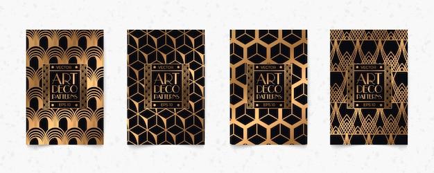 Fondo moderno e nero di struttura di stile della geometria di art deco del modello dell'oro