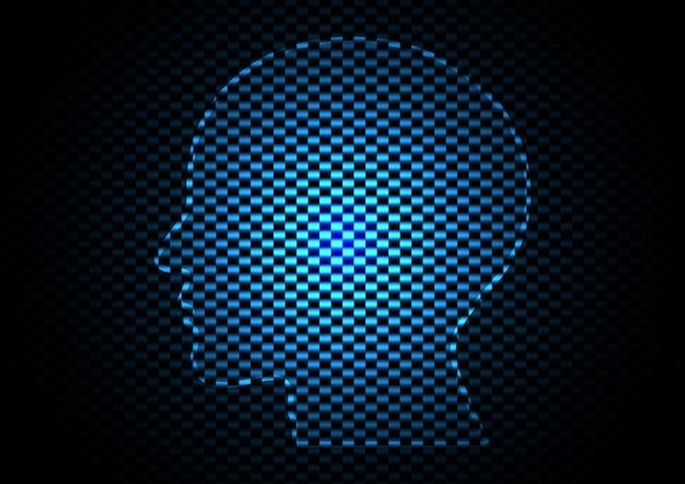 Fondo moderno futuro digitale di struttura del carbonio della testa astratta di tecnologia