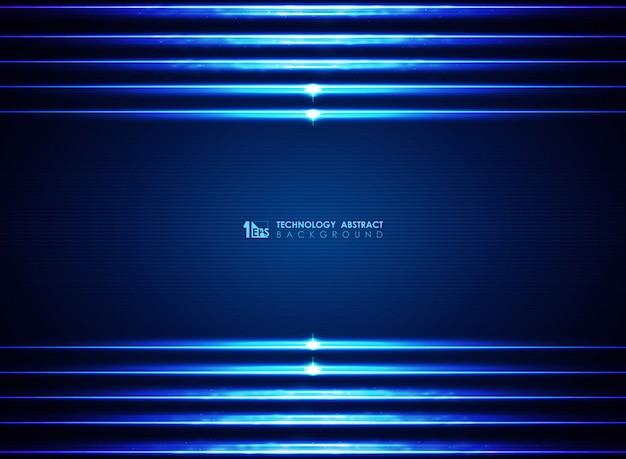 Fondo moderno moderno delle linee blu dei laser futuristici.