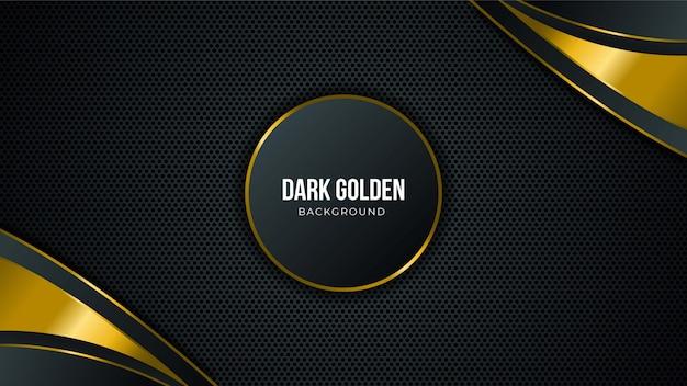Fondo nero astratto di tecnologia con gli elementi dorati e lo spazio della copia per testo
