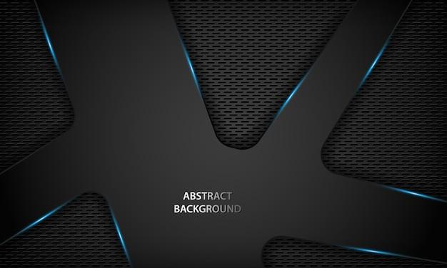 Fondo nero astratto di tecnologia con metallico blu.