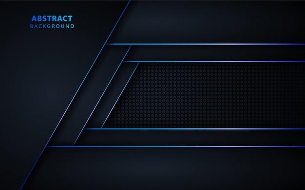 Fondo nero astratto di tecnologia con metallico blu