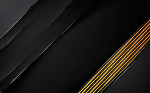 Fondo nero astratto moderno con composizione linea oro