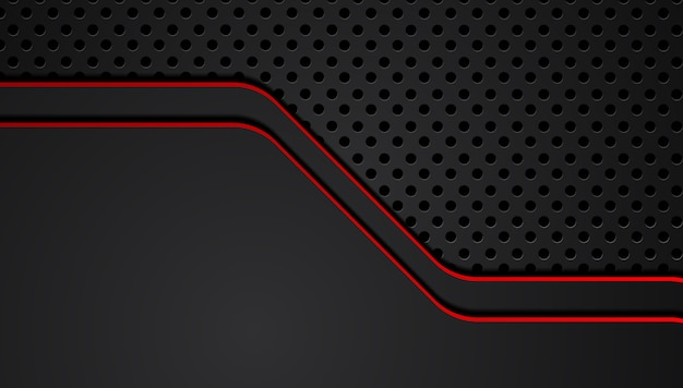 Fondo nero astratto rosso dell'innovazione di tecnologia di progettazione della disposizione della struttura metallica.