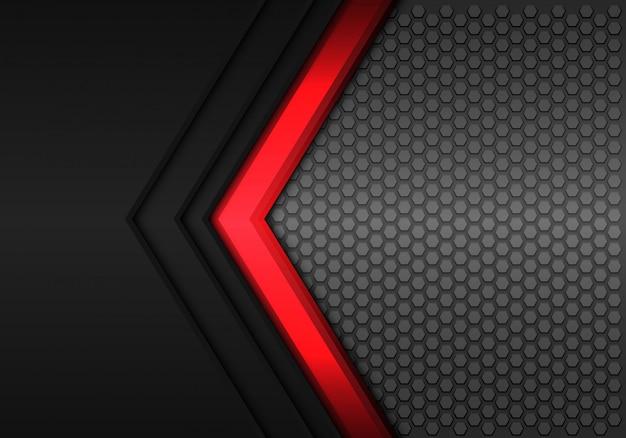 Fondo nero della maglia di esagono di direzione della freccia di potere rosso.