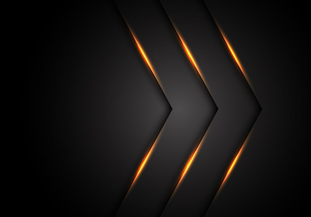 Fondo nero dello spazio in bianco di direzione della freccia della luce gialla.