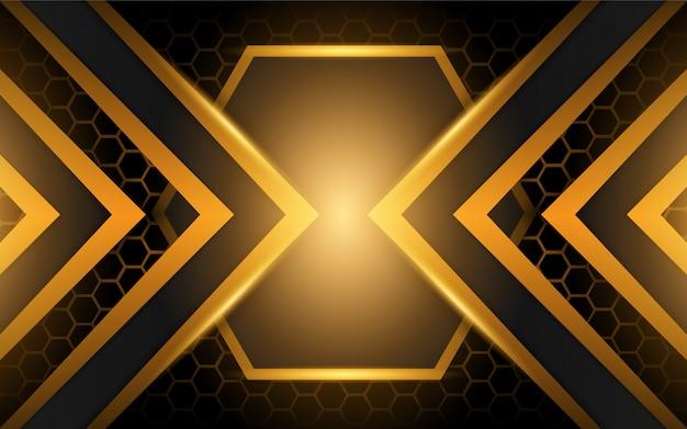 Fondo nero e dorato astratto di forme del metallo