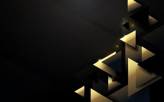 Fondo nero e oro di lusso del modello poligonale astratto