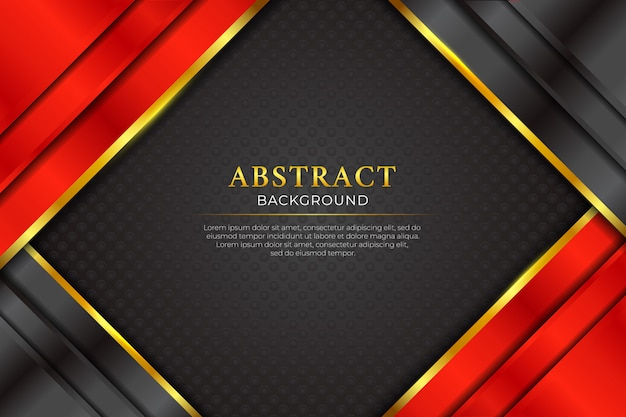 Fondo nero e rosso astratto scuro di lusso con la linea dorata