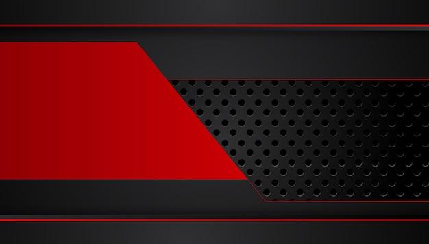 Fondo nero rosso metallico astratto con le bande di contrasto. progettazione grafica astratta dell'opuscolo
