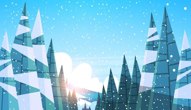 Fondo nevoso del paesaggio di tramonto di boschi di abeti del pino della foresta di inverno