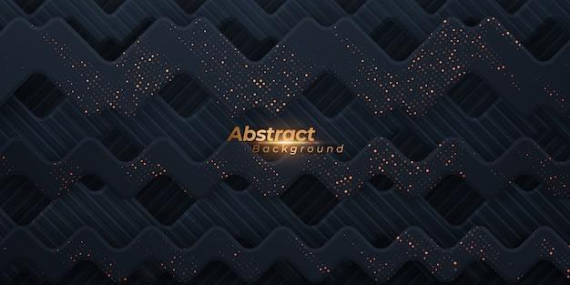 Fondo ondulato geometrico astratto con punti dorati.