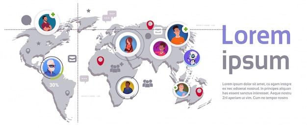 Fondo online della mappa di mondo dell'insegna del modello e degli elementi di infographic della connessione della rete sociale