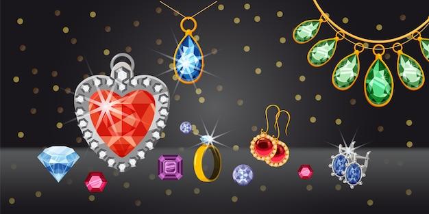 Fondo orizzontale della raccolta dei gioielli