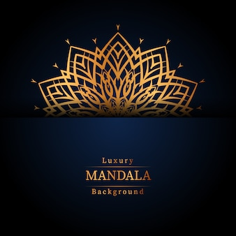 Fondo ornamentale di lusso di progettazione della mandala nel colore dell'oro, fondo di lusso della mandala per l'invito di nozze, copertina di libro