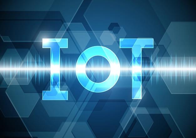 Fondo oscillante del segnale di onda esagonale dell'estratto di tecnologia delle cose di internet