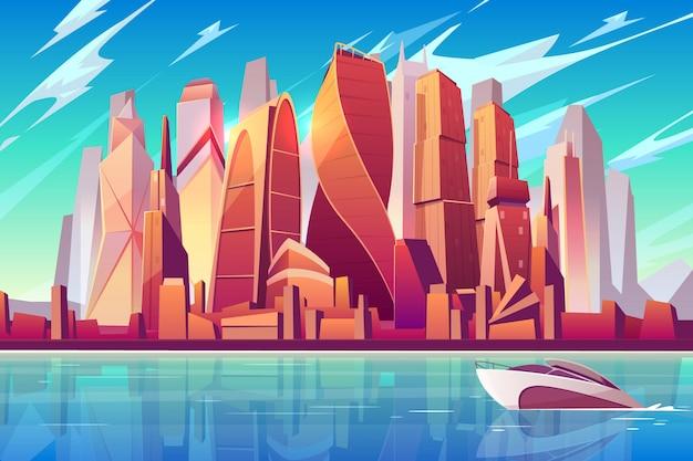 Fondo panoramico del fumetto dell'orizzonte della città di mosca con il centro di affari internazionale