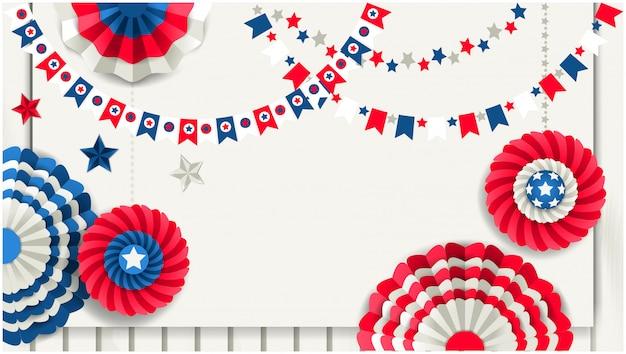 Fondo patriottico con le girandole di carta che appendono sul recinto di legno