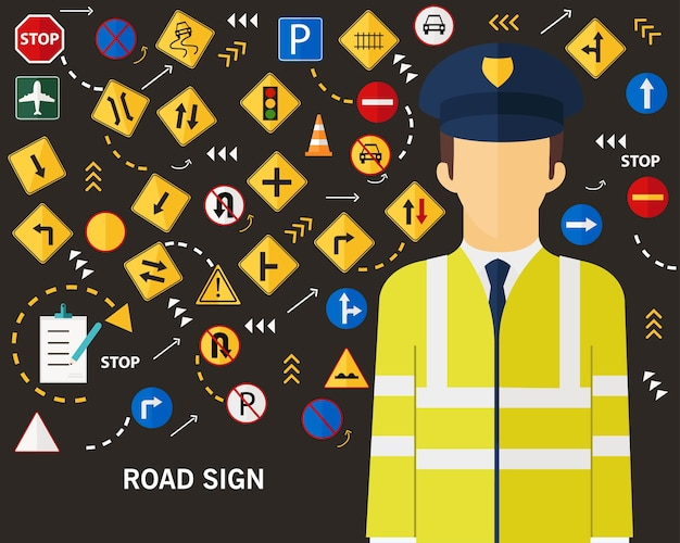 Fondo piano delle icone di concetto del segnale stradale