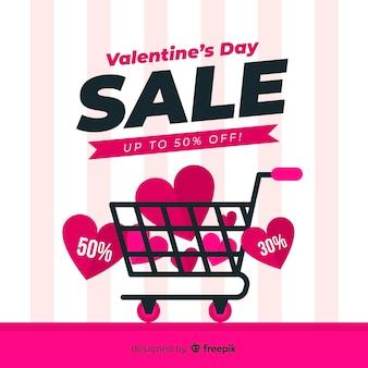 Fondo piano di vendita di san valentino del carrello di acquisto