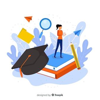 Fondo piatto concetto di università