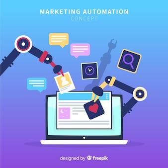 Fondo piatto di automazione di marketing