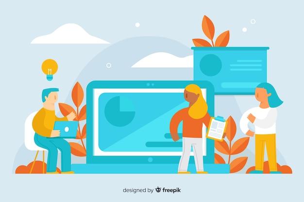Fondo piatto di concetto di e-learning