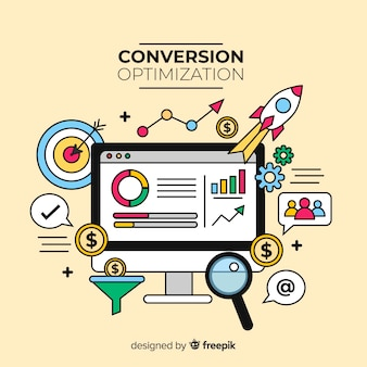 Fondo piatto di conversione di marketing