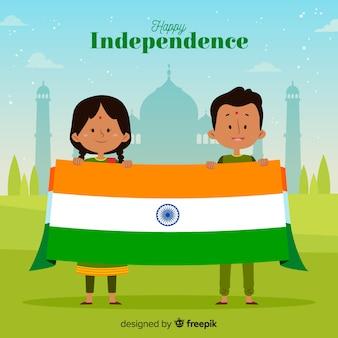 Fondo piatto di festa dell'indipendenza dell'india