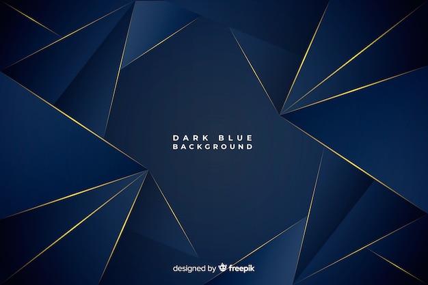 Fondo poligonale blu scuro con linee dorate