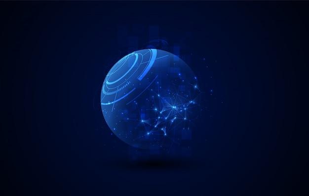Fondo poligonale della sfera astratta di fantascienza