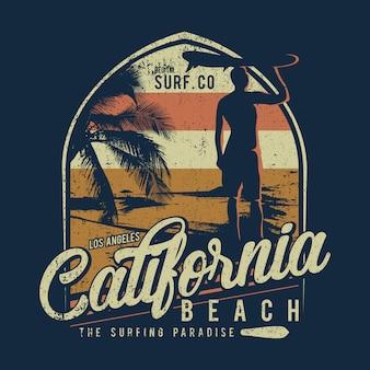 Fondo praticante il surfing della spiaggia della california di progettazione
