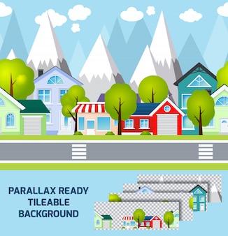 Fondo pronto di parallax del paesaggio della città della provincia