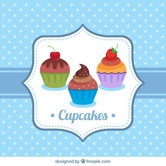 Fondo punteggiato di cupcakes
