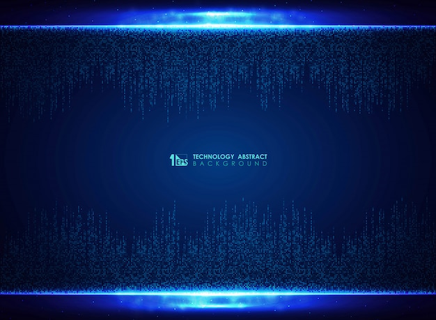 Fondo quadrato blu della decorazione di progettazione del modello di tecnologia