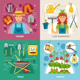 Fondo quadrato delle icone di concetto di giardinaggio