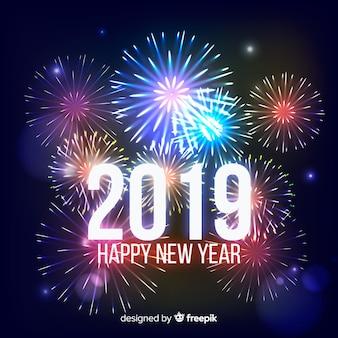 Fondo realistico dei fuochi d'artificio del nuovo anno