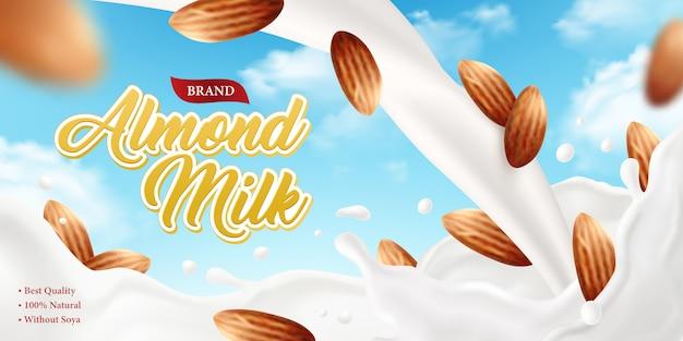 Fondo realistico dell'annuncio del manifesto del latte di mandorla con il testo decorato della marca e la composizione dell'illustrazione matta e di immagini del cielo