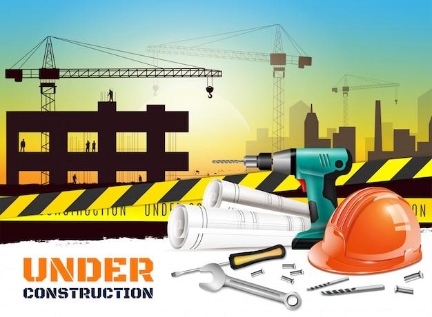 Fondo realistico della costruzione con il titolo in costruzione e l'attrezzatura differente sull'illustrazione della facciata frontale