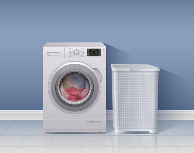 Fondo realistico della lavatrice con l'illustrazione di simboli dell'attrezzatura della lavanderia