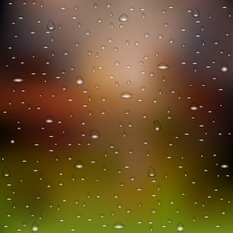 Fondo realistico della natura delle gocce di pioggia dell'acqua