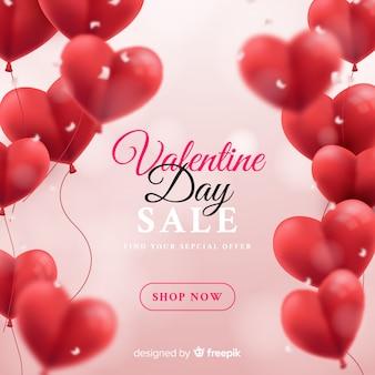 Fondo realistico di vendita di san valentino dei palloni