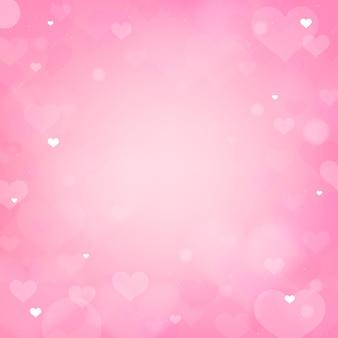 Fondo rosa del bokeh del cuore del biglietto di s. valentino