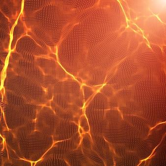 Fondo rosso astratto della maglia dell'onda. array di nuvole di punti. onde di luce caotiche. sfondo tecnologico cyberspazio. onde informatiche.